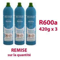 GAZ R600a (isobutane) 3 BOUTEILLES x 420g